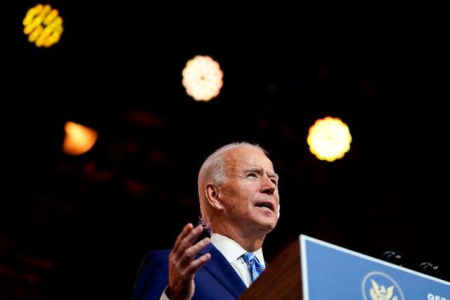 US President-elect Joe Biden delivers a pre-Thanksgiving address at his transition headquarters in Wilmington, Delaware, US on November 25, 2020 — Reuters/Files