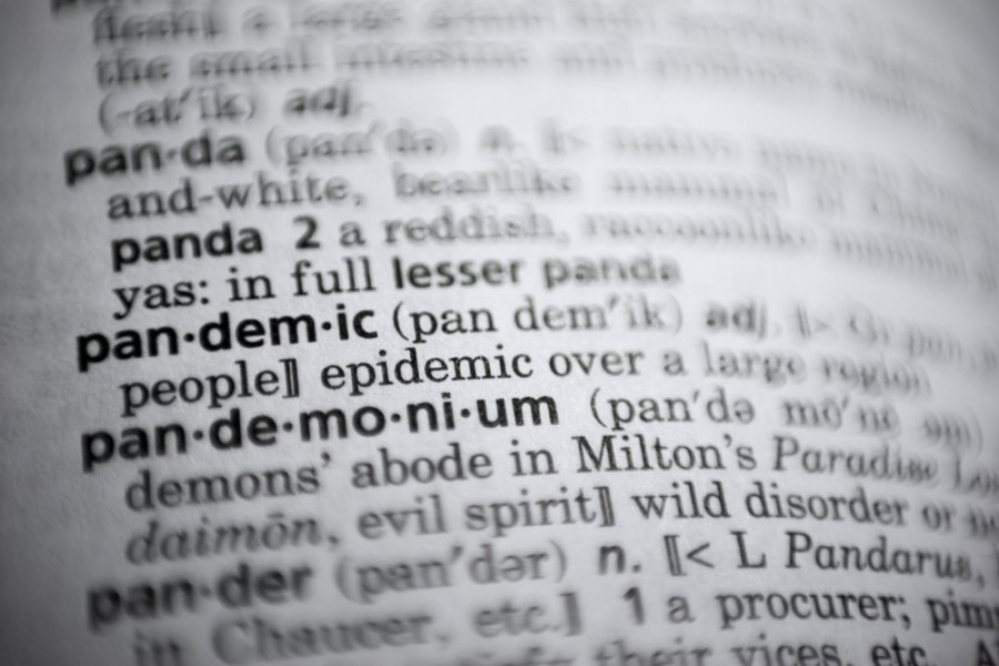 "In this Saturday, November 21, 2020, photo the word ""pandemic"" is displayed in a dictionary in Washington – AP Photo"