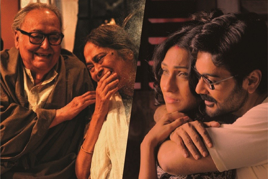 A combination of photos shows a scene from Belaseshe (L) and a scene from Praktan — Collected