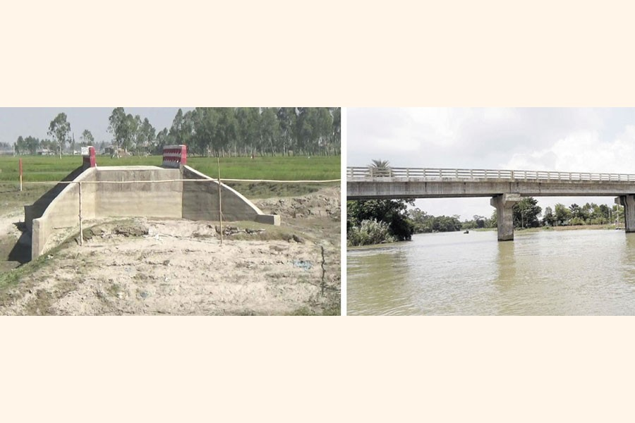 A combination of photos shows a bridge without approach roads near Gazaria Shelter Project under Fulchhari in Gaibandha (left) and a partial view of the unused bridge on the Rokti River in Jamalganj of Sunamganj — FE