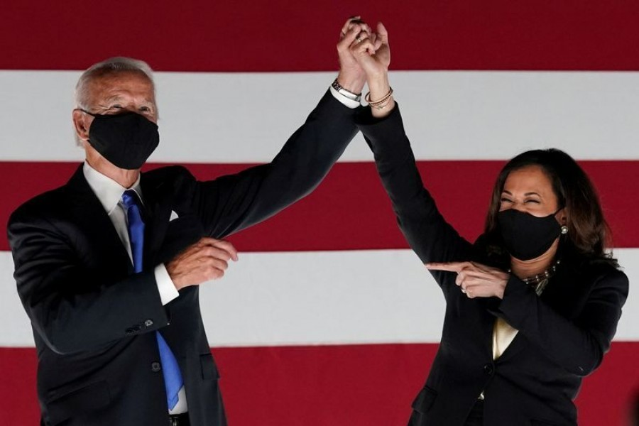 US President-elect Joe Biden and Vice President-elect Kamala Harris seen in this undated Reuters photo