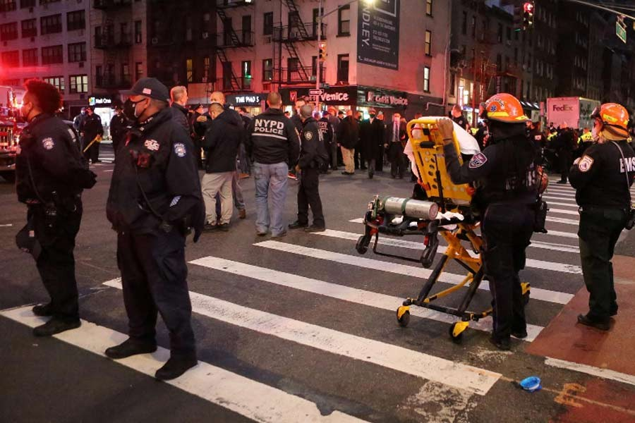 Security personnel standing in the street at the location of a vehicle that struck multiple pedestrians at a protest on Third Avenue in the Manhattan borough of New York City in the United States on Friday evening –Reuters Photo