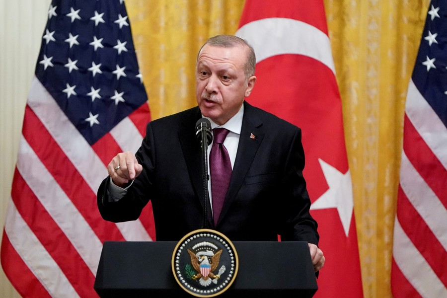 Turkish President Tayyip Erdogan answers questions during a joint news conference with US President Donald Trump at the White House in Washington, US on November 13, 2019 — Reuters/Files
