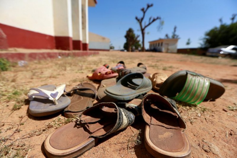 A collection of student footwears left behind after gunmen abducted students at the Government Science school in Kankara, in northwestern Katsina state, Nigeria, December 13, 2020 — Reuters/Files