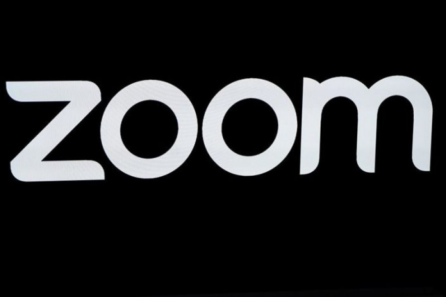The Zoom Video Communications logo is pictured at the NASDAQ MarketSite in New York, New York, US, April 18, 2019. REUTERS/Carlo Allegri