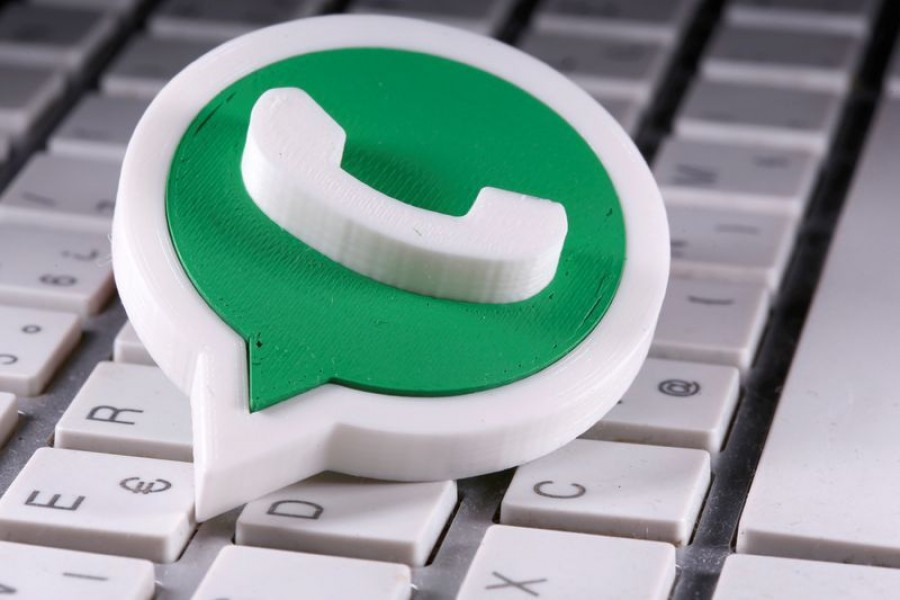 A 3D printed Whatsapp logo is placed on the keyboard in this illustration taken April on 12, 2020 — Reuters/Files