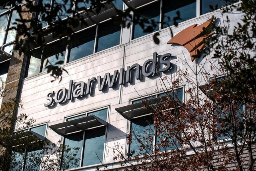 The SolarWinds logo is seen outside its headquarters in Austin, Texas, US on December 18, 2020 — Reuters photo