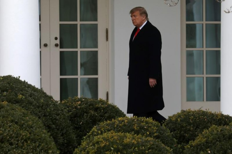 US President Donald Trump walks to the Oval Office after returning from Mar-A-Lago to the White House in Washington, US, December 31, 2020 — Reuters