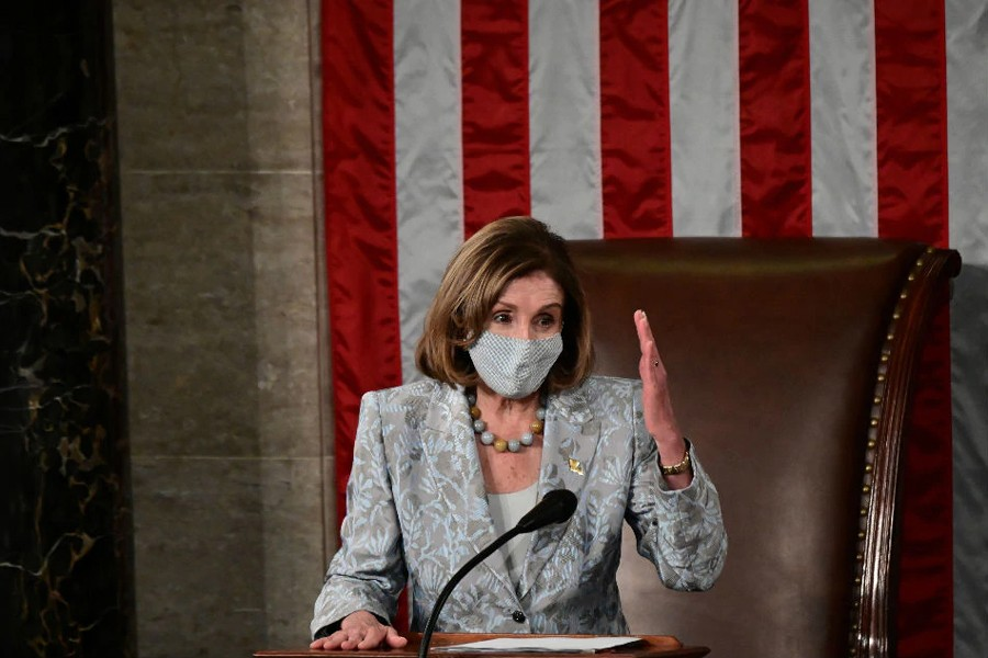 Speaker of the US House Nancy Pelosi gestures towards the members as she addresses the first session of the 117th Congress on the heels of taking her oath of office after she was reelected Speaker on Capitol Hill in Washington, US on January 3, 2021 — Pool via Reuters