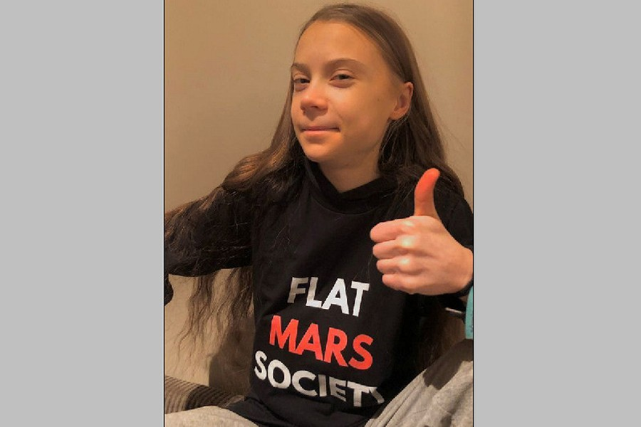 Activist Greta Thunberg gestures in a photo which was posted with a message thanking her supporters for their well wishes for her 18th birthday, in this undated picture taken from social media —  @GretaThunberg via REUTERS