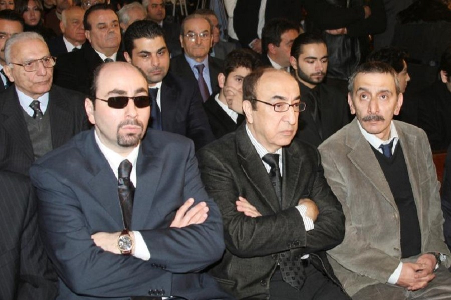 (L-R) Lebanese musicians and composers Ousama Rahbani, Elias Rahbani and Ziad Rahbani attend the funeral of composer, musician and producer Mansour Rahbani in Beirut January 16, 2009 — Reuters/Files