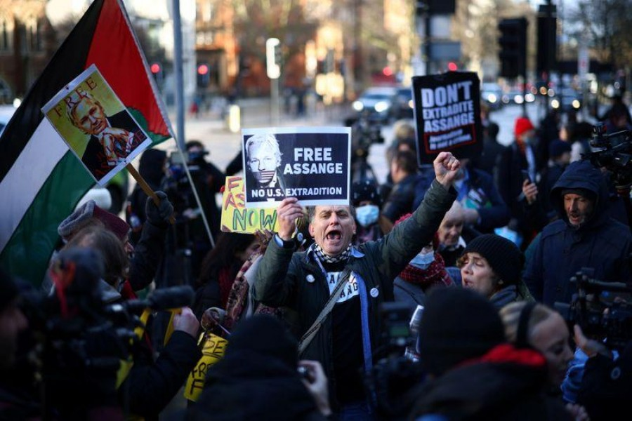 A demonstration in support of Julian Assange outside the courthouse in London on Wednesday — Reuters photo