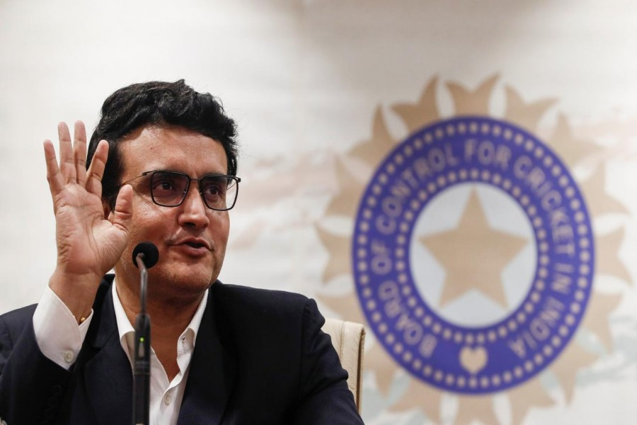 Former Indian cricketer and current BCCI (Board Of Control for Cricket in India) president Sourav Ganguly reacts during a press conference at the BCCI headquarters in Mumbai, India, October 23, 2019. REUTERS/Francis Mascarenhas