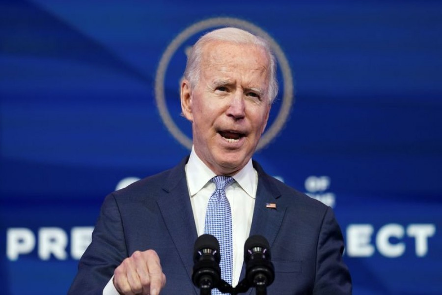 US President-elect Joe Biden speaks about the protests taking place in and around the US Capitol in Washington as the US Congress held a joint session to certify the 2020 election results, at a news conference at his transition headquarters in Wilmington, Delaware, US, January 6, 2021. REUTERS/Kevin Lamarque