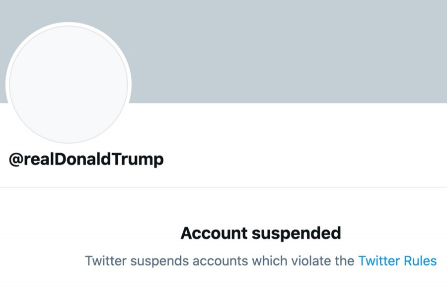 The permanently suspended Twitter account of US President Donald Trump is seen in this screengrab obtained via social media on January 8, 2021 — Twitter via REUTERS