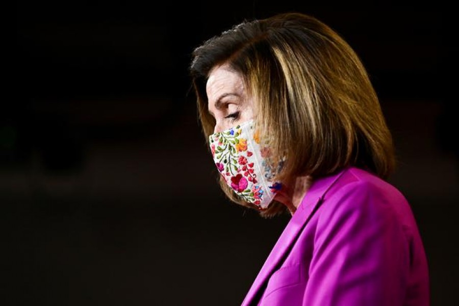 US House Speaker Nancy Pelosi (D-CA) speaks to reporters a day after supporters of US President Donald Trump occupied the Capitol, during a news conference in Washington, US, January 7, 2021. REUTERS/Erin Scott