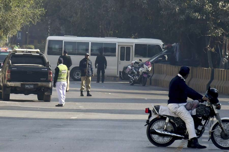 A mini-bus carrying South Africa's cricket team entering a luxury hotel in Karachi of Pakistan on Saturday –AP Photo