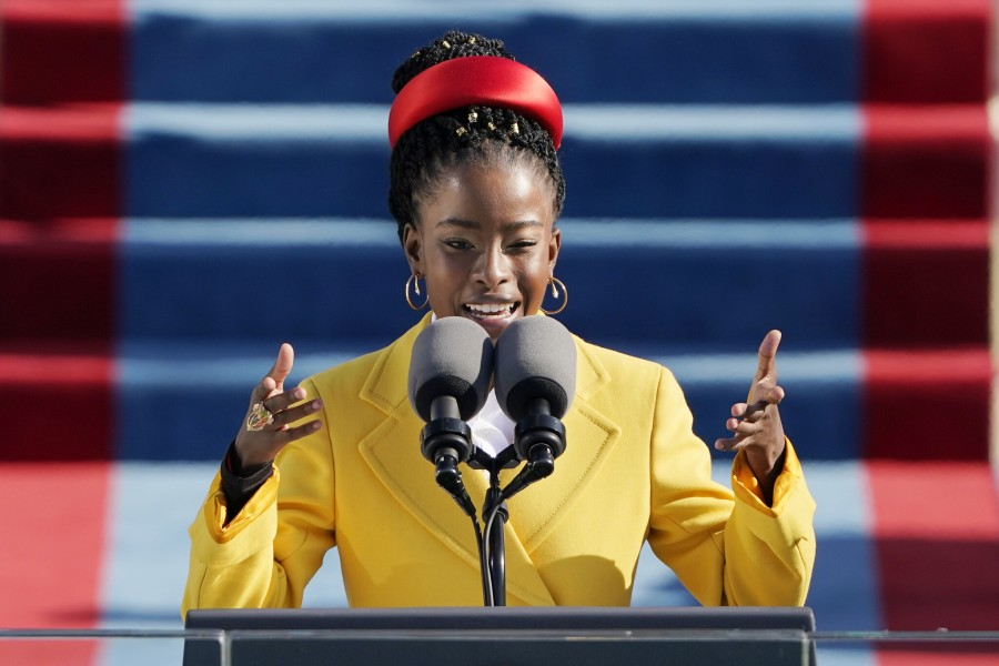 American poet Amanda Gorman reads a poem during the 59th Presidential Inauguration at the US Capitol in Washington, January 20, 2021. (AP Photo/Patrick Semansky, Pool)