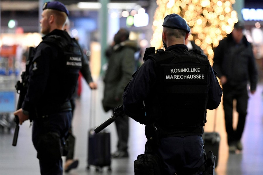 Dutch police patrol at Amsterdam's Schiphol airport, November 6, 2019. REUTERS