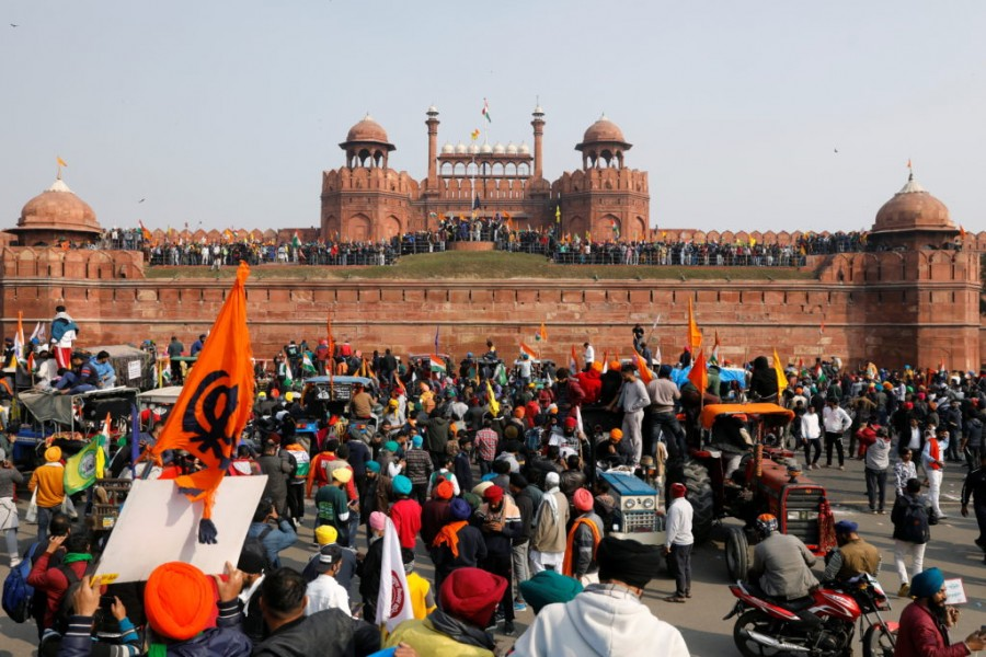 Farmers participate in a protest against farm laws introduced by the government, at the historic Red Fort in Delhi, India, January 26, 2021. REUTERS