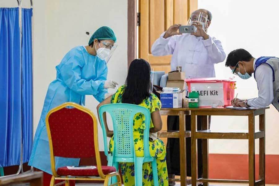 A medical worker receiving AstraZeneca's COVISHIELD coronavirus disease (COVID-19) vaccine in Myanmar on Wednesday –Reuters Photo