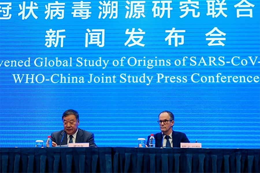 Members of the World Health Organization (WHO) team tasked with investigating the origins of the coronavirus disease (COVID-19) attend the WHO-China joint study news conference at a hotel in Wuhan of China on Tuesday -Reuters photo