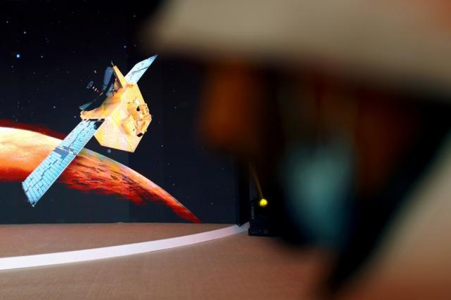 FILE PHOTO: A representation of the Hope Probe is seen at the Mohammed bin Rashid Space Centre ahead of its launch from Tanegashima Island in Japan, in Dubai, United Arab Emirates July 19, 2020. REUTERS/Ahmed Jadallah/File Photo