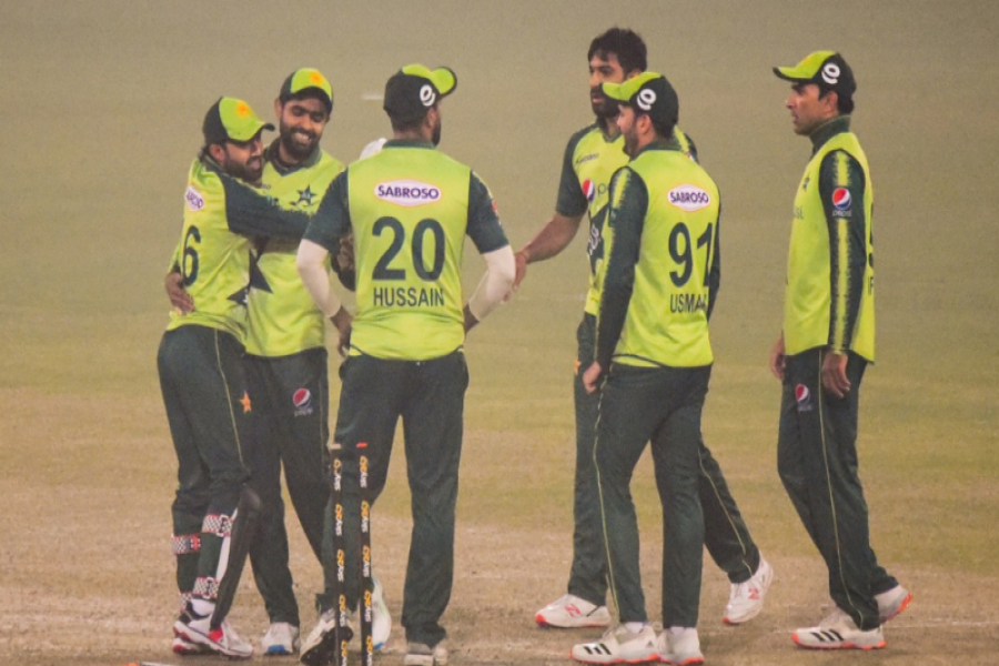 Players of the Pakistan team are seen at the Gaddafi Stadium in Lahore on Thursday. —PCB Twitter via Dawn