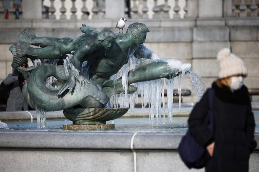 A fountain covered in icicles is seen in Trafalgar Square, London, Britain on February 11, 2021 — Reuters photo