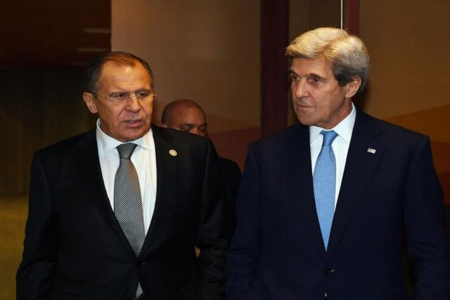 FILE PHOTO: Russian Foreign Minister Sergey Lavrov (L) and US Secretary of State John Kerry leave after their bilateral meeting at the APEC Ministers Summit in Lima, Peru November 17, 2016. REUTERS/Mark Ralston/Pool