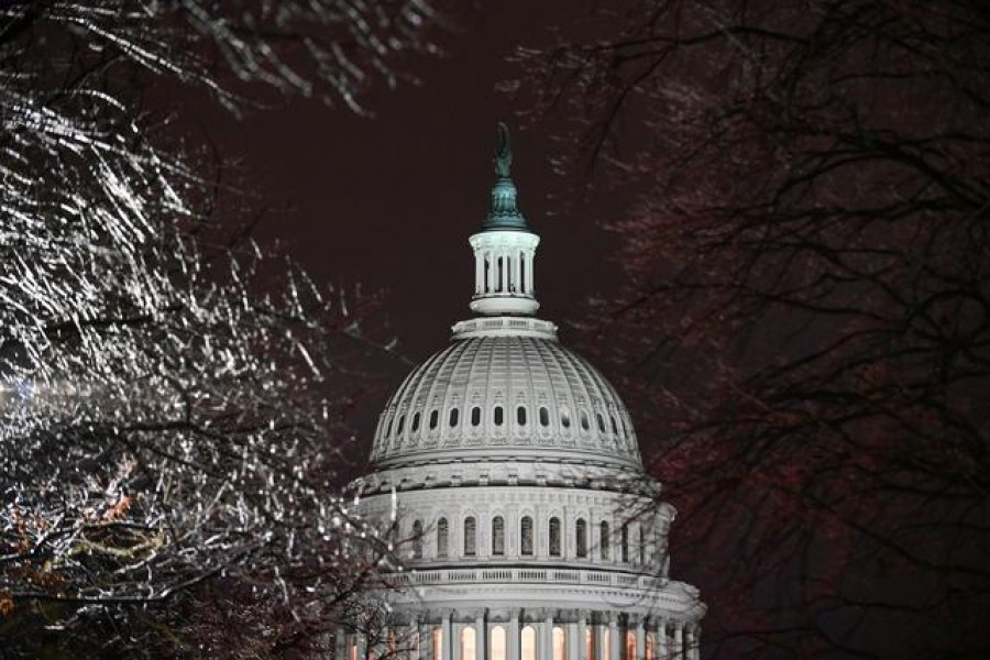 The US Capitol is seen through ice-covered tree branches after the Senate voted to acquit former US President Donald Trump during his impeachment trial, in Washington, US, February 13, 2021. REUTERS/Erin Scott