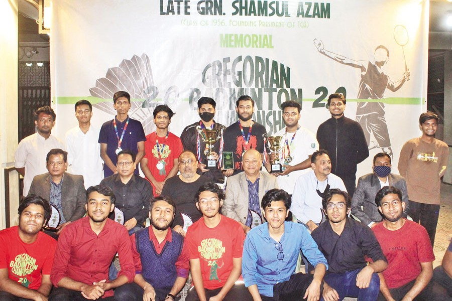 Guests, winners and organisers at the prize giving ceremony of Gregorian Badminton Championship 2.0