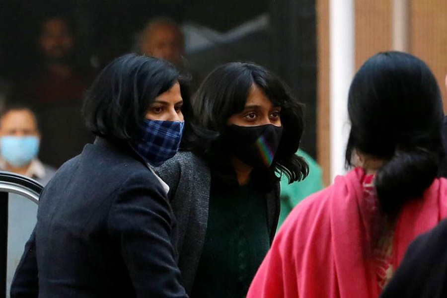 Disha Ravi, a 22-year-old climate activist, arrives to a court in New Delhi, India, February 19, 2021 — Reuters/Files