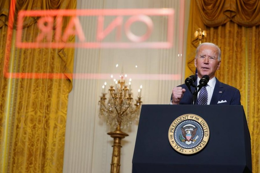 US President Joe Biden delivers remarks as he takes part in a Munich Security Conference virtual event from the East Room at the White House in Washington, US, February 19, 2021 — Reuters