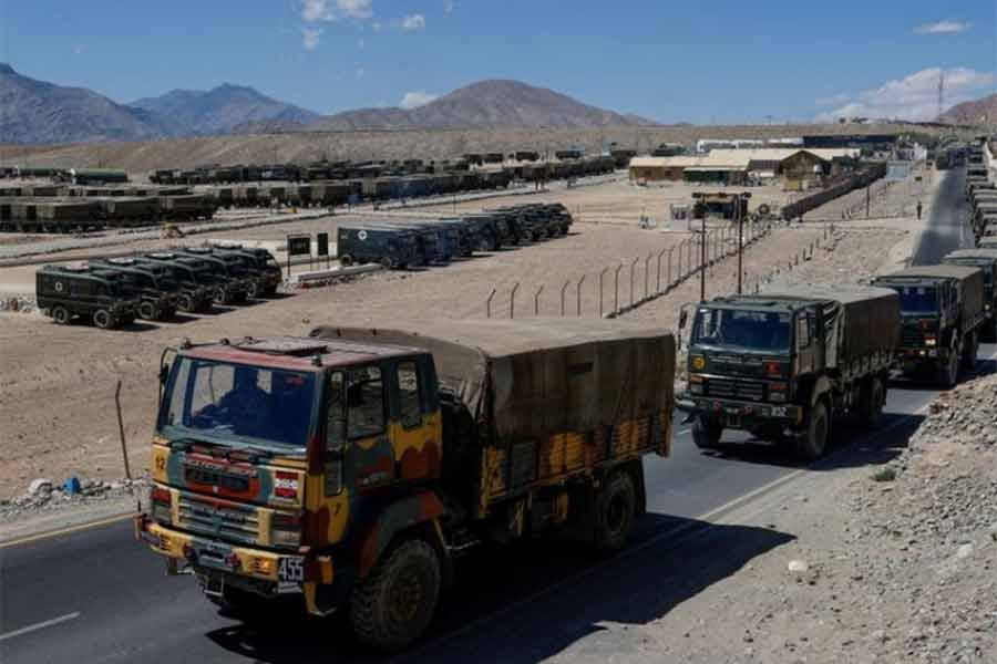 Military trucks carrying supplies move towards forward areas in the Ladakh region last year -Reuters file photo