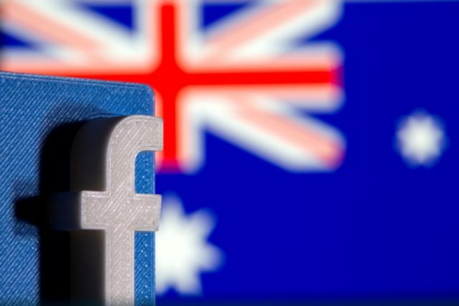 FILE PHOTO: A 3D printed Facebook logo is seen in front of displayed Australia's flag in this illustration photo taken February 18, 2021. REUTERS/Dado Ruvic/Illustration/