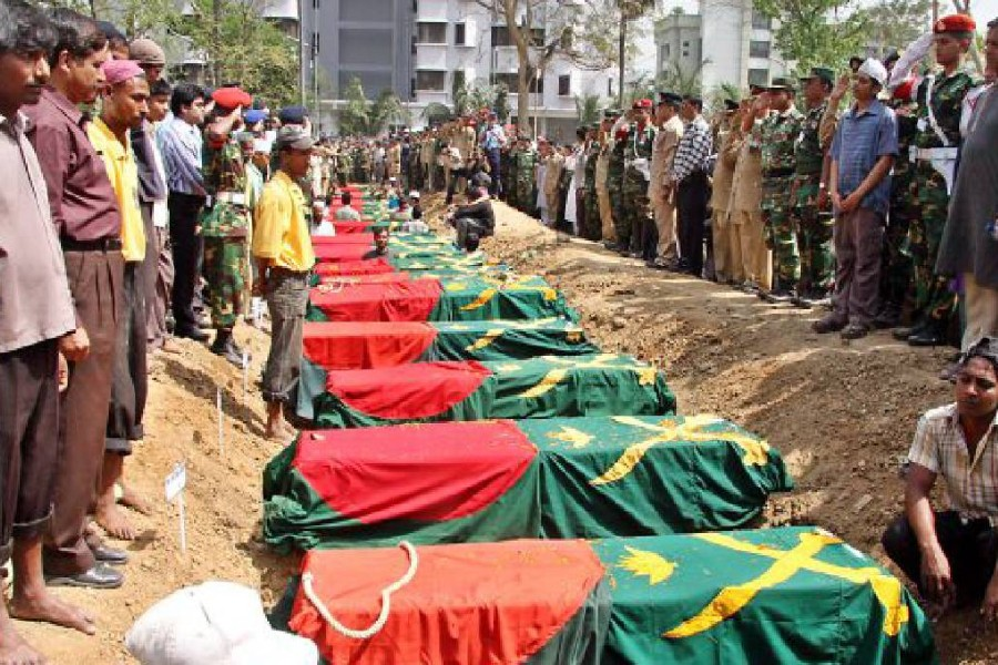 The mutiny by some members of the then Bangladesh Rifles started in the Peelkhana headquarters of the border guards in the capital Dhaka on Feb 25, 2009 and ended the following day - UNB file photo