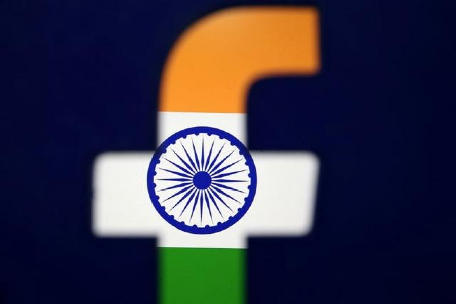India's flag is seen through a 3D printed Facebook logo in this illustration picture, April 8, 2019 — Reuters/Files