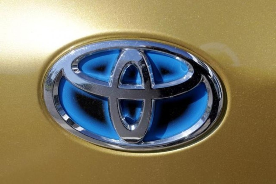 The logo of Toyota carmaker is seen on a car in Nice, France on April 8, 2019 — Reuters/Files