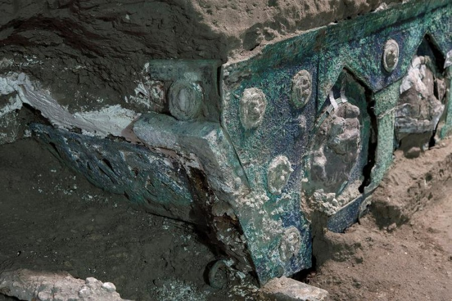 An ancient-Roman ceremonial carriage is discovered in a dig near the ancient Roman city of Pompeii, destroyed in 79 AD in volcanic eruption, Italy, February, 2021 — Pompeii Archeological Park/Ministry of Cultural Heritage and Activities and Tourism/Luigi Spina/Handout via Reuters