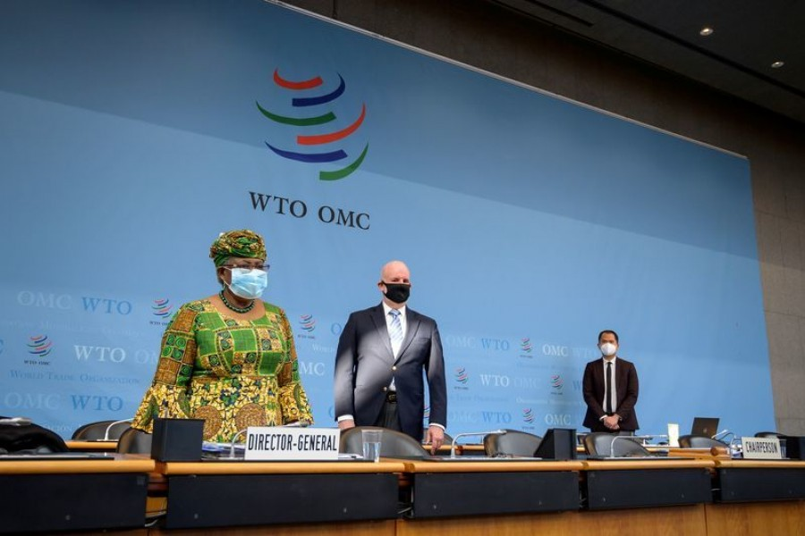 New Director-General of the World Trade Organisation Ngozi Okonjo-Iweala stands prior to a session of the WTO General Council upon her arrival at the WTO headquarters to take an office in Geneva, Switzerland March 1, 2021. Fabrice Coffrini/Pool via REUTERS
