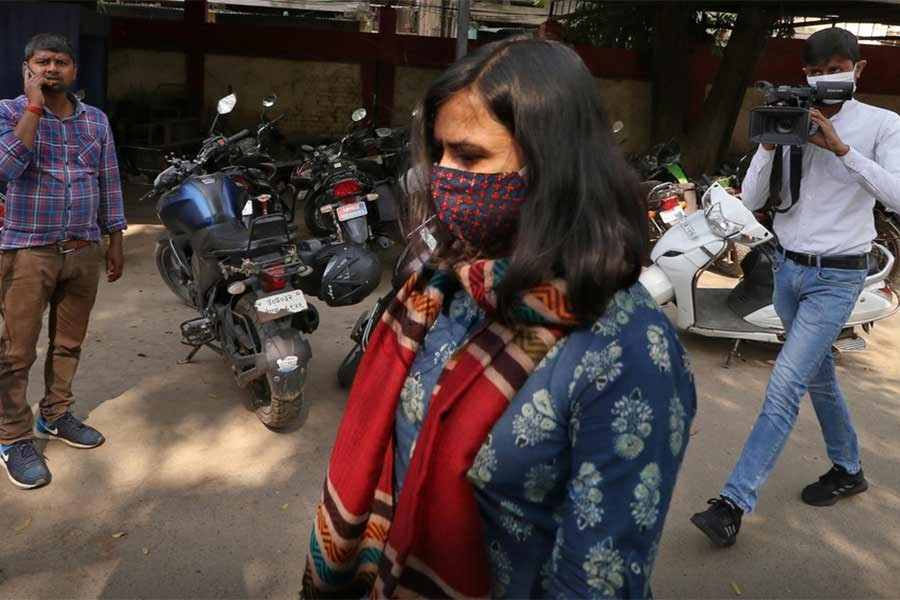 Aparna Purohit, Amazon's head of original content for its Prime streaming service in India, arrives for questioning at a police station in Lucknow of India last month -Reuters file photo
