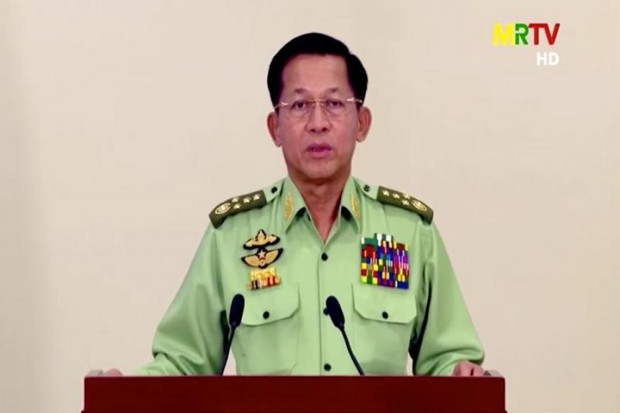 Myanmar's military junta leader, General Min Aung Hlaing, speaks in a media broadcast in Naypyitaw, Myanmar, February 8, 2021 in this still image taken from video — MRTV/Reuters TV via Reuters