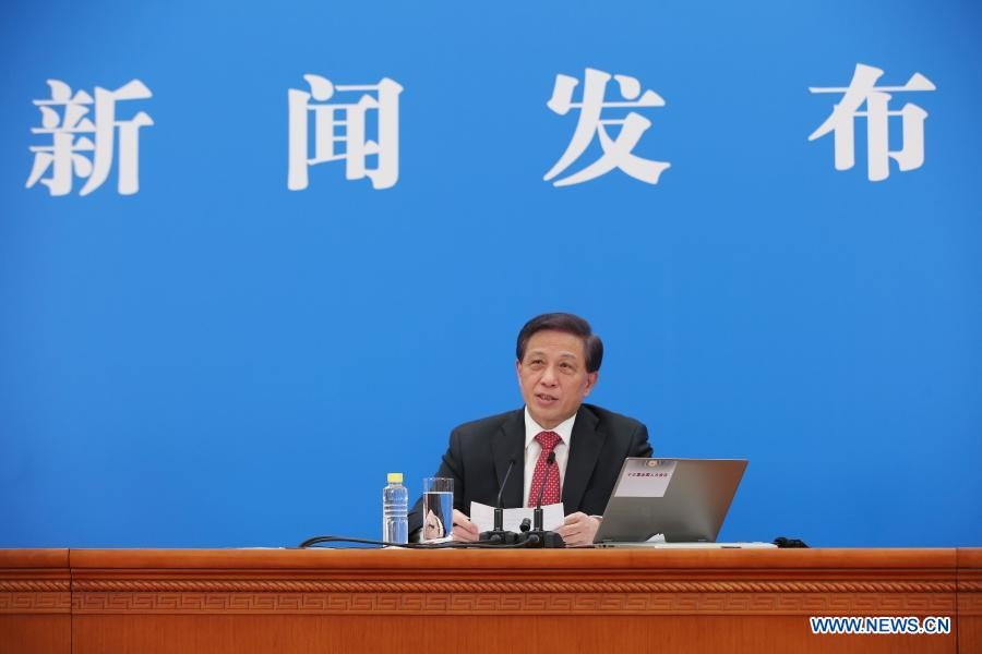Zhang Yesui, spokesperson for the fourth session of the 13th National People's Congress (NPC), attends a press conference via video link in Beijing, capital of China, March 4, 2021 — Xinhua