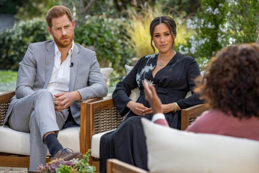 Britain's Prince Harry and Meghan, Duchess of Sussex, are interviewed by Oprah Winfrey in this undated handout photo — Harpo Productions/Joe Pugliese/Handout via Reuters