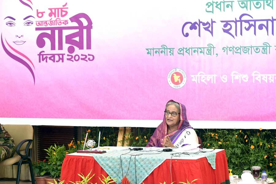 Prime Minister Sheikh Hasina addressing the inaugural function of the International Women's Day through a videoconference from Ganabhaban on Monday –PID Photo