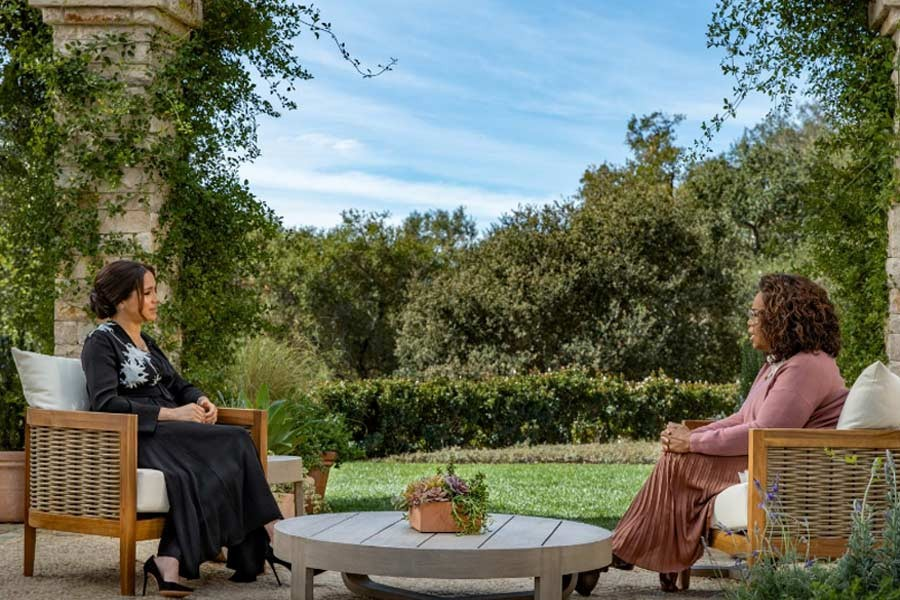 Meghan, Duchess of Sussex, gives an interview to Oprah Winfrey in this undated handout photo