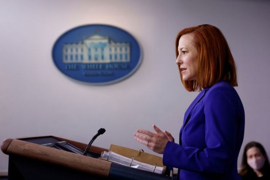 White House Press Secretary Jen Psaki delivers remarks during a daily press briefing at the White House in Washington, US, March 8, 2021 — Reuters