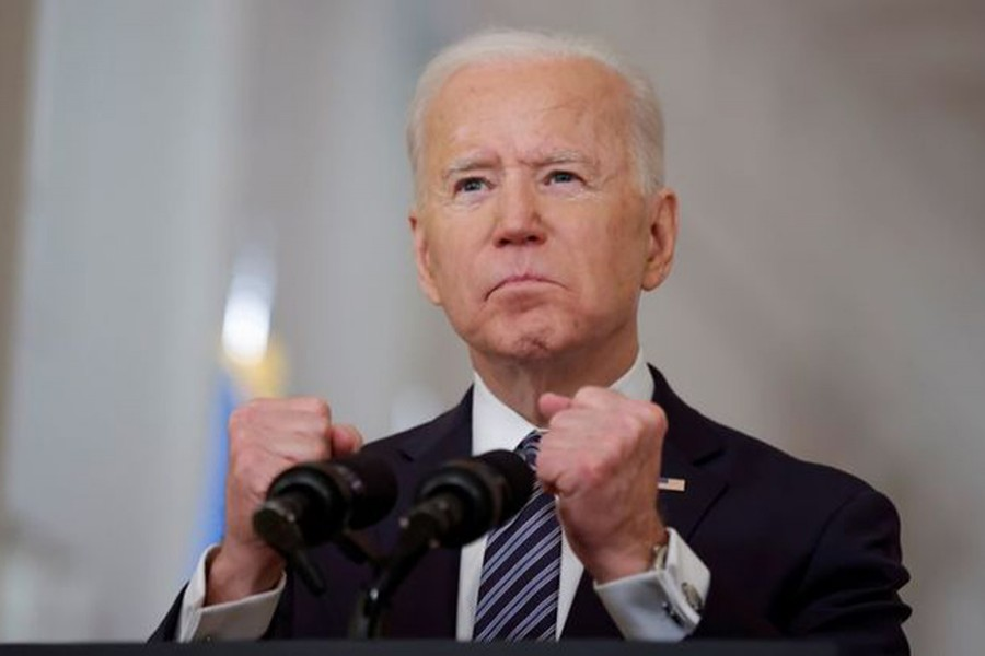.S. President Joe Biden seen during an address from the East Room of the White House in Washington, US on March 11, 2021 — Reuters/Files