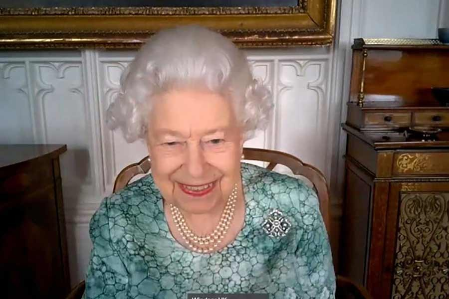 Britain's Queen Elizabeth II attends a virtual science showcase to mark British Science Week in this screenshot provided by the Royal Communications on Friday -Reuters Photo
